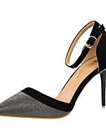 Damen-High Heels-Kleid-Leder-Stöckelabsatz-Komfort-Gold Schwarz Silber Blau Rosa