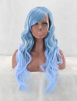 estilo popular peruca comprimento azul esverdeado ombre peruca corpo moda onda sem tampa calor sintética resistente longa com estrondo