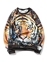 Men's Casual/Daily Sweatshirt Leopard Round Neck Micro-elastic Polyester Long Sleeve Spring