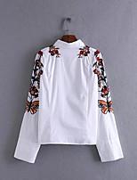 Feminino Camiseta Casual SimplesBordado Poliéster Decote Redondo Manga Longa Fina