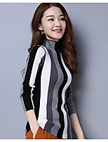 Women's Casual/Daily Simple Regular Pullover,Striped Turtleneck ¾ Sleeve Wool Spring Fall Medium Micro-elastic