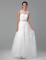 LAN TING BRIDE גזרת A שמלת חתונה גב מהמם שובל סוויפ \ בראש עם תכשיטים תחרה טול עם חרוזים בד נשפך תחרה