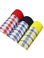 3Pcs/Lot Men's Fashion Sexy Plaid Print Boxers Underwear Cotton Modal Panties
