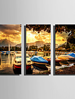 E-HOME Stretched Canvas Art Boat Moored At The Shore Decoration Painting Set Of 3