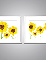 Framed Canvas Prints Sunflower  Picture Print on Canvas Yellow Flower Canvas Art with White Frame  for Wall Decoration