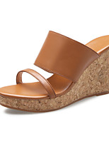 Women's Slippers & Flip-Flops Summer Fall Slingback Cowhide Dress Casual Wedge Heel