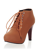 Women's Boots Spring Summer Fall Winter Club Shoes PU Office & Career Party & Evening Dress Chunky Heel Lace-up