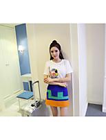 Nett! Korean ladies embroidered cartoon short sleeve T-shirt + waist hit color bust A word skirt suit