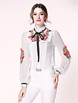 Egeer Women's Work Party Sexy Street chic Sophisticated Spring Summer BlouseSolid Embroidered Stand Long Sleeve PolyesterTranslucent