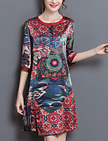 Women's Plus Size Going out Sophisticated Loose Shift Dress,Print Round Neck Above Knee ½ Length Sleeve Silk Polyester Summer Mid Rise