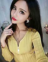 Для женщин На каждый день Блуза Глубокий V-образный вырез,Простое Однотонный Полоски Длинный рукав,Хлопок,Средняя
