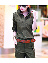 Women's Casual/Daily Simple Active Fall Shirt Pant Suits,Solid One Shoulder Long Sleeve Cotton