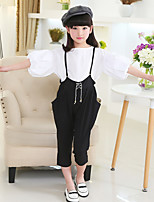 Girl's Fashion And Cool Suspenders Pure Color Hubble-Bubble Sleeve T-shirt Coat  Two-Piece Set
