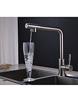 Contemporary Standard Spout Vessel Widespread Rotatable with  Ceramic Valve Single Handle One Hole for  Nickel Brushed , Kitchen faucet