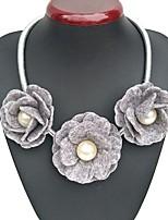 Ожерелье Ожерелья-бархатки Бижутерия Свадьба Для вечеринок Круглый дизайн Цветочный дизайн Сплав Ткань 1шт Подарок Серый Верблюжий