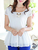 Women's Going out Cute Summer Blouse,Solid Round Neck Short Sleeve Polyester Thin