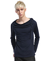Men's Casual/Daily Sports Simple Active Summer Tank Top,Solid Hooded Long Sleeve Cotton Rayon Thin