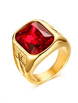 16L Stainless Steel Fashion Big Faceted red Glass Crystals Simulated Gemstone Ring Size 8-12