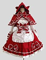 Una Sola Pieza/Vestidos Abrigo Blusa / Falda Gosurori Rococó Cosplay Vestido  de Lolita Un Color Manga Larga Hasta la RodillaCapa Camisas