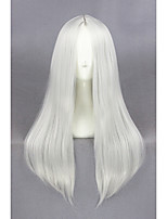 Medium Long Straight Silvery White Synthetic 24inch Anime Cosplay WigCS-234B