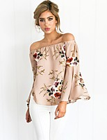Women's Casual/Daily Simple Cute Spring Summer Shirt,Floral Boat Neck Long Sleeve Polyester Opaque Thin