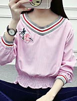 Women's Casual/Daily Simple Cute Spring Summer Blouse,Striped V Neck ¾ Sleeve Polyester Medium