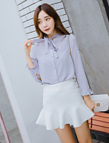 Women's Bow Casual/Daily Simple Blouse,Solid Stand Long Sleeve Polyester Thin