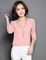 Women's Casual/Daily Simple Blouse,Solid V Neck Long Sleeve Nylon Thin