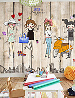 Art Deco Wallpaper For Home Wall Covering Canvas Adhesive Required Mural Colored Wooden Background Cartoon CharactersXXXL(448*280cm)