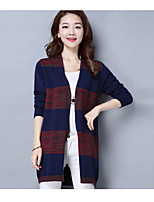 Women's Going out Casual/Daily Regular Cardigan,Solid Striped Deep V Long Sleeve Rayon Polyester Spring Fall Medium Micro-elastic