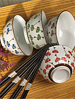 Lucky Cloves High Temperature Porcelain Dinning Bowl Set with Four Different Colors, Chopsticks included