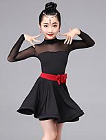 Latin Dance Dresses Kid's Performance Milk Silk Sash/Ribbon 2 Pieces Long Sleeve Waist Belt Dress