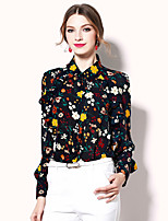 Egeer Women's Going out Casual/Daily Work Sexy Simple Street chic Spring Summer BlouseFloral Shirt Collar Long Sleeve Polyester Medium