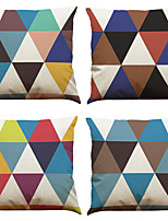 Set of 4 Triangle  Pattern Pattern  Linen Pillowcase Sofa Home Decor Cushion Cover