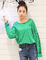 Women's Casual/Daily Simple T-shirt,Solid Letter Round Neck Long Sleeve Cotton