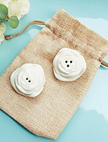 Salt and Pepper Shakers in Burlap Bag Wedding Favor (Set of 2)