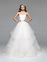 LAN TING BRIDE A-라인 웨딩 드레스 어깨 노출 스타일 바닥 길이 끈없는 스타일 튤 와 비즈 크리스탈