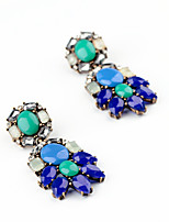 Brincos Curtos Cristal Circular Moda Personalizado Euramerican Azul Jóias Para Casamento Festa Aniversário 1 par