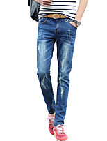 Men's Mid Rise Micro-elastic Jeans PantsSimple Slim Solid ACD-A932