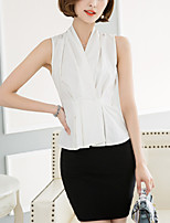 Women's Work Street chic Summer Fashion Slim Thin OL Shirt Solid V Neck Sleeveless Cotton Beige Thin