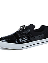 Men's Sneakers Spring Fall Winter Comfort Patent Leather Outdoor Office & Career Casual Flat Heel Black Blue Silver
