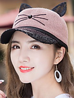 Women 's Summer Lace Cat Ears Stitching Colors Baseball Cap Casual Shade Sunbath Hats