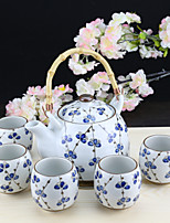 Lucky Clove High Temperature Porcelain Teapot with Pot 950ml and five Cups (150ml each)