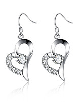 Classic Silver Plated Clear Crystal Heart Shape Dangle Earrings for Party Women Jewelry Accessiories