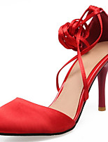 Damen-High Heels-Hochzeit Kleid Party & Festivität-Satin maßgeschneiderte Werkstoffe-Stöckelabsatz-D'Orsay und Zweiteiler Club-Schuhe-