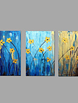 מצויר ביד טבע דומם פרחוני/בוטני מאוזן,מודרני פסטורלי שלושה פנלים בד ציור שמן צבוע-Hang For קישוט הבית
