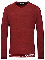 Herren Standard Pullover-Lässig/Alltäglich Solide Rundhalsausschnitt Langarm Baumwolle Winter Mittel Dehnbar