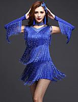Latin Dance Dresses Women's Performance Spandex Milk Fiber Crystals/Rhinestones Paillettes Tassel(s) 3 Pieces Sleeveless Dance Costume
