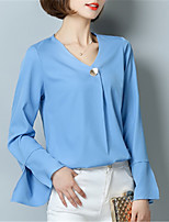 Fashion Wild V Collar Horn 3/4 Sleeves Solid Color Chiffon Upper Outer Garment Daily Leisure Dating Home Family Gathering Party Blouse