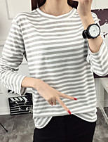 Sign fall and winter clothes new long-sleeved T-shirt female loose big yards casual striped round neck bottoming hedging